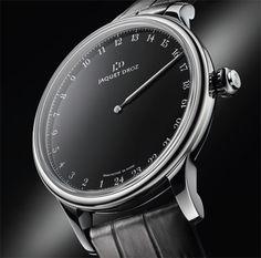 La manufacture horlogère suisse Jaquet Droz (Swatch Group) vient de présenter sa dernière création : la Grande Heure Onyx, un garde-temps en acier de 43 mm, doté d'un somptueux cadran en onyx et surtout, une montre affichant l'heure par le biais d'une seu