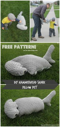 Have you ever wanted to cuddle a Hammerhead Shark? A free pattern for a friendly, not fierce shark to snuggle as a pillow or a pet. By Swoodson Says for So Sew Easy.
