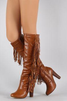 Vegan Leather Falling Fringe Chunky Heel Boots