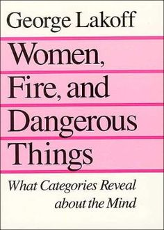 """Women, Fire, and Dangerous Things - George Lakoff   (Book on cognitive linguistics) """"What do categories and though reveal about the human mind? Offering both general theory and minute details, Lakoff shows that categories reveal a great deal."""