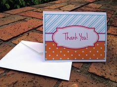 PrintableThank You Card Stationary-Stripes and Polka Dots. $5.00, via Etsy.