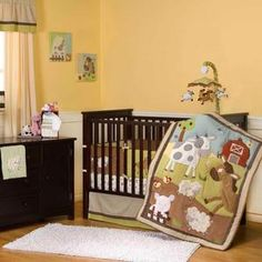 Green Brown Farm Animal Neutral Baby Crib Bedding Set for Boy or Girl Nursery | eBay
