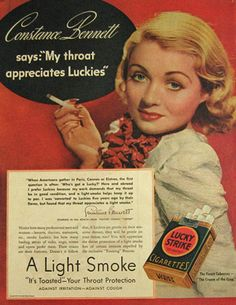 Vintage advertisement for Lucky Strike with Constance Bennett