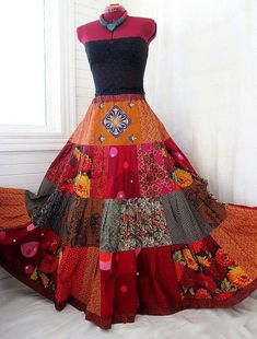 """""""Red Fire Blossoms"""" Patchwork Hippie skirt by Barefoot Modiste Hippie Skirts, Bohemian Skirt, Gypsy Skirt, Bohemian Mode, Boho Skirts, Bohemian Style, Boho Chic, Skirt Fashion, Diy Fashion"""