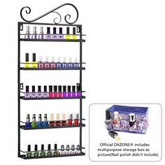 Dazone DIY Mounted 5 Shelf Nail Polish Wall Rack Organizer Holds 50 Bottles Nail Polish or Essential Oils (Black 5 tier) DAZONE http://www.amazon.com/dp/B00YGWRUY2/ref=cm_sw_r_pi_dp_hm5Svb16QXPVY