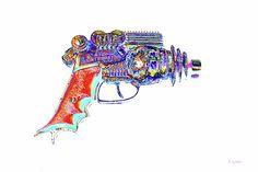 Atomic Ray Gun Digital Pop Art Digital pop art of vintage 1950's Atomic Disintegrator cap pistol. Limited editions of larger sizes upon request.
