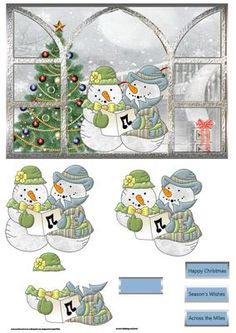 View through the window snow people sing on Craftsuprint designed by Angela Wake… Christmas Decoupage, Christmas Card Crafts, Christmas Cards To Make, Christmas Clipart, Christmas Printables, Christmas Pictures, Xmas Cards, Christmas Snowman, Image 3d