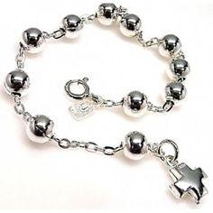 Pulsera de plata de primera ley de tipo rosario
