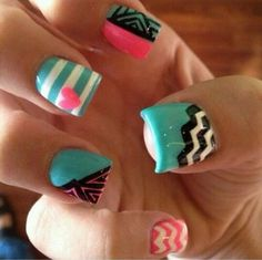 Nails (love the stripe nail with the heart)
