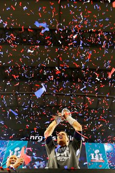 f4b9b6fe5 Tom Brady of the New England Patriots celebrates with the Vince Lombardi  Trophy after defeating the