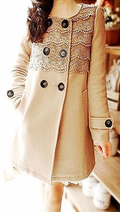 Beige lace button-up coat!