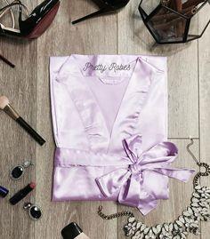 Lavender Satin Kimono Robe - PrettyRobes.com