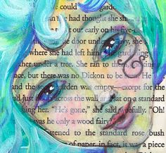 My Swirling Turquoise Blue Hair Beach Beauty by ArtfulBitsAndBytes, $16.00Whimsical 4x7 print of my original acrylic painting on salvaged vintage text. This water babe is a beachy beauty with long swirly turquoise blue hair and an enchanted look in her eyes.
