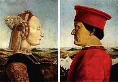 circa 1465, Double portrait of the Dukes of Urbino,Battista Sforza e Federico da Montefeltro,Piero della Francesca.tempera on wood.47×33 cm.Uffizi Gallery.