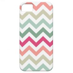 Modern and trendy iPhone 5 phone case features pastel pink, green and white zigzag chevron stripe pattern. Cute and unique design and a perfect cool gift idea for her / him or anyone on any occasion