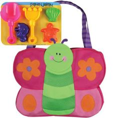 Stephen Joseph Butterfly Beach Tote by Stephen Joseph. Save 25 Off!. $14.97. From the Manufacturer                Get ready to take in some sand and surf with these shaped beach totes. Each tote comes with a sand toy play set which includes two shovels and three beach-themed molds.                                    Product Description                SJ100325 Design: Butterfly Pictured in Butterfly Features: -Beach Totes.-Available in Butterfly, Crab, Dolphin, Alligator and Shark T...