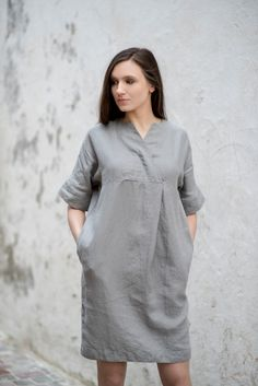 Linen Dress Motumo by MotumoLinen on Etsy – Linen Dresses For Women Linen Tunic Dress, Linen Dresses, Dress For Summer, Corporate Wear, Make Your Own Dress, Blouse Patterns, Simple Dresses, Dress Making, Ideias Fashion