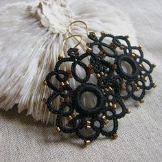 Black Tatted earrings with bronze seed beads by eannie on Etsy