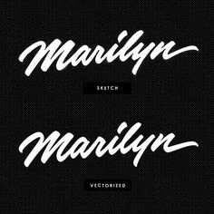 """Marilyn script lettering. I made this just for fun and the sake of practice. """"Boop-boop-a-doop!"""" The upper script is the original sketch that is just inverted in Photoshop for the presentation purposes. 😘💋 #brushscript #scriptlettering #script #customlettering #customscript #casuallettering #signature #handwriting #handlettering #handmade #lettering #letteringprocess #marilyn #marilynmonroe #practice #vectorlettering #handtype #typography"""