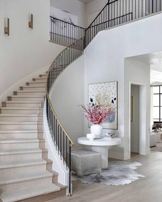 """Frankel Building Group on Instagram: """"The details in this foyer are ON ANOTHER LEVEL. We love the contrast and textures all through out!  photo: @kerrykirkphoto…"""" Custom Home Builders, Custom Homes, Interior And Exterior, Interior Design, Entry Way Design, Entry Hallway, Staircase Design, Entryway Decor, Office Decor"""