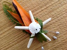 Bird of Paradise Beach Boutonnière with Starfish and Tiny Sand