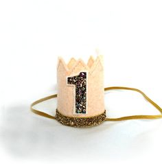 Ready to Ship Blush and Gold Crown Felt Mini by littleblueolive