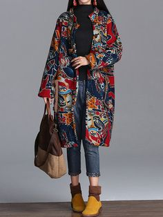 Vintage Women Stand Collar Long Sleeve Printed Thicken Winter Warm Coat