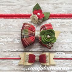 Set of 3 Christmas Headband Hairclip, Gold Baby Headband, Holiday Hairbows, Red Gold Hairbows, Felt Flowers, Gifts For Girls, Christmas Felt