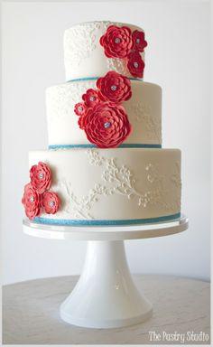 Preppy-Chic Red and Aqua Wedding Cake