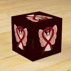 Burgundy Awareness Ribbon Angel Party Favor Box