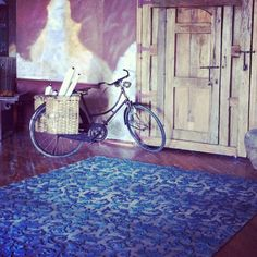 """@feizyrugs's photo: """"Shooting our new catalogue"""" #loveofrugs #interiordesign @photoshoot #bike #blue #rugs"""