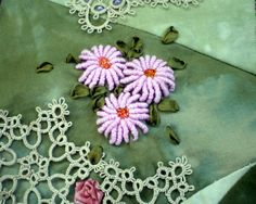I ❤ crazy quilting & ribbon embroidery . . . (stunning work) Pieced from Hand-dyed cottons & tatting. All stitching, bar a tiny bit of black, is done in the Sassa Lynne perle cottons. All silk ribbon is hand dyed by myself or Pat Winter. ~by Jo in NZ