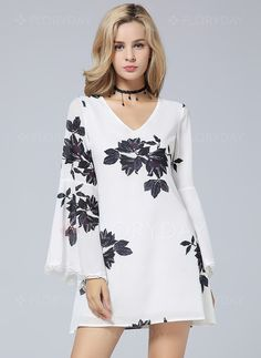 Dresses - $32.34 - Polyester Floral Long Sleeve Mini Casual Dresses (1955108932)