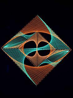 2D neon string art