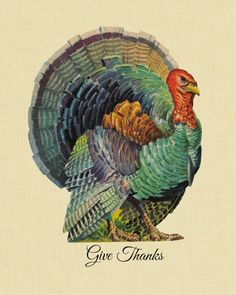 This classic looking turkey implores you to Give Thanks. Great for your Thanksgiving-themed decor!