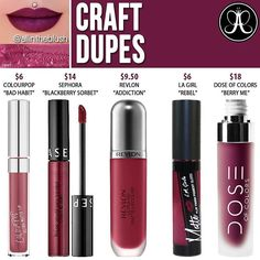 Anastasia Beverly Hills Craft Liquid Lipstick Dupes – All In The Blush – makeup products Nyx Cosmetics, Dupes Nyx, Lipstick Dupes, Lipstick Colors, Lip Colors, Lipsticks, Lipstick Palette, Elf Dupes, Fall Lipstick