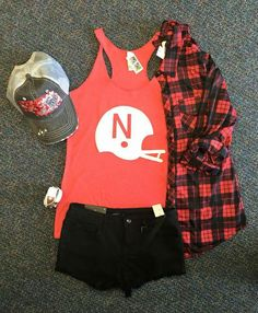 Nebraska football outfit. Ash & Ash! I want it all!!! #gbr #cute #tank…