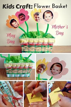 Kids Craft: Strawberry Basket Craft for Mother's Day and May Day. upcycled craft, recycled craft.