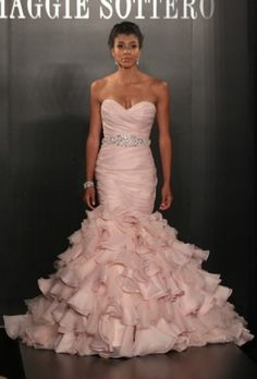 Maggie Sottero - Spring 2013 - Divina Strapless Pink Organza Mermaid Wedding  Dresss with Ruched Sweetheart Bodice - Stunning Cheap Wedding Dresses ea0724f7f7fc
