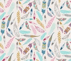Feather-Boho-Bohemian-Fabric-Printed-By-Spoonflower-BTY