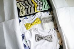 brilliant and adorable DIY bow tie onesies - easy cheap baby gift (grandma totally getting this link!)