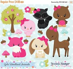 80% OFF - INSTANT DOWNLOAD, girls woodland animals clipart, forest clip art, for personal use, commercial use, party supply, scrapbooking