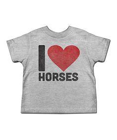 Heather Gray 'I Love Horses' Tee - Toddler & Kids