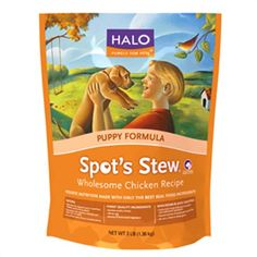 Halo - Spot's Stew Puppy Wholesome Chicken Dog Food Real meat. No rendered meat or meal from chicken, poultry, lamb, fish or plants. Formulated with vitamins, minerals, and other trace nutrients No artificial colors, flavors or preservatives FINEST QUALITY INGREDIENTS Fresh chicken Whole egg Bounty of farm-raised vegetables WHOLESOME & EASILY DIGESTIBLE Home-style recipe with easy to recognize and understand ingredients Natural sources of soluble and insoluble fiber