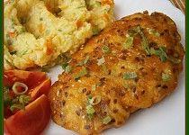 """Kuřecí řízky v""""Hrašce"""" Baked Potato, Mashed Potatoes, Cauliflower, Food And Drink, Sweets, Chicken, Meat, Baking, Vegetables"""