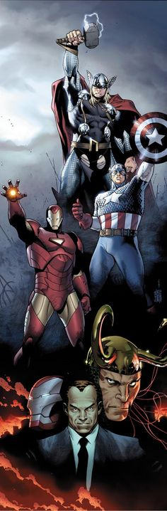 Siege promo poster (featuring Thor, Captain America, Iron Man, Loki and Norman Osborn with and without the Iron Patriot armor)