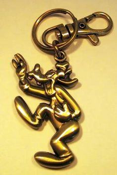 Goofy laughing brass keychain from Fantasies Come True