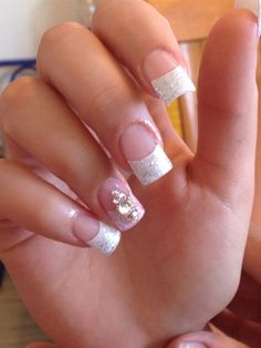 French nails pink glitter