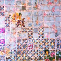 esmmmme: movida next door bathroom wall create a collage of images with tiles Textures Patterns, Print Patterns, Ethnic Patterns, Home And Deco, Mosaic Tiles, Tiling, Art Tiles, Mosaic Backsplash, Bathroom Wall