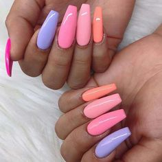 43 Pretty Ways to Wear Rainbow Nails This Summer This summer step up your nail game with these trendy rainbow nails! We've collected the hottest nail designs that are easy to wear and create! Cute Acrylic Nail Designs, Simple Acrylic Nails, Summer Acrylic Nails, Best Acrylic Nails, Painted Acrylic Nails, Purple And Pink Nails, Acrylic Nails Pastel, Summer Nails, Finger